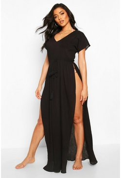 Black Split Leg Cotton Beach Kaftan
