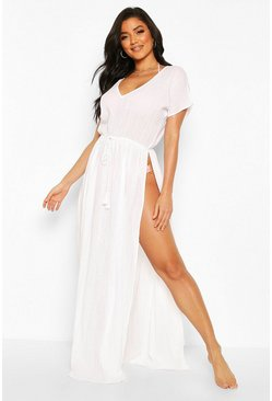 White Split Leg Cotton Beach Kaftan