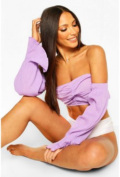 Lilac Puff Sleeve Bardot Beach Top