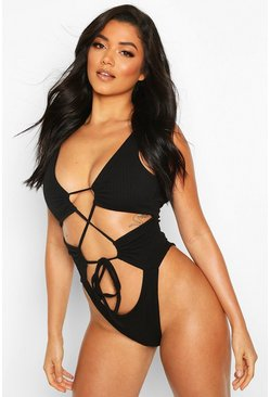 Black Textured Twist Lace Up Swimsuit
