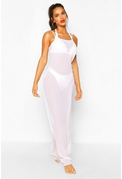 White Strappy Maxi Beach Dress