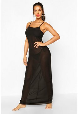 Black Strappy Maxi Beach Dress