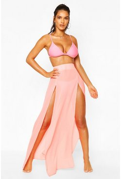 Orange Split Leg Maxi Beach Skirt