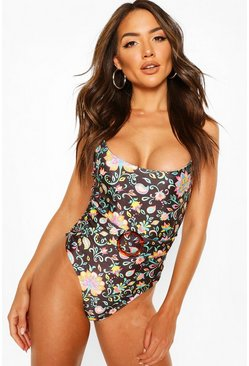 Black Tropical Paisley Belted Swimsuit