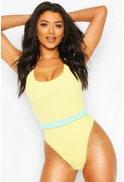 Yellow Crinkle Scoop Swimsuit With Removable Belt