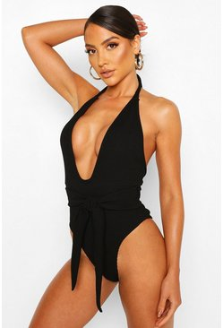 Black Crinkle Tie Belt Plunge Swimsuit