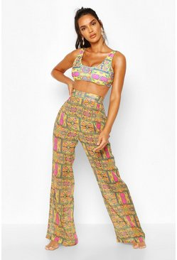 Yellow Wide Leg Beach Trousers