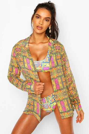 Yellow Tropical Tie Print Oversized Beach Shirt