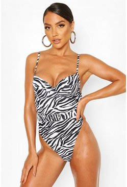 Black Zebra Underwired Belted Swimsuit