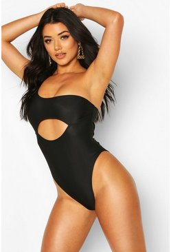 Black Asymetric Cut Out Contour Swimsuit