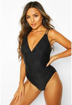 Black Control Strappy Back Swimsuit