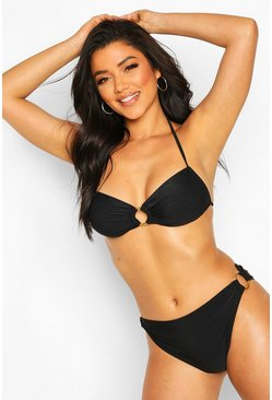 Black Ring Detail Stringy Tie Bandeau Bikini