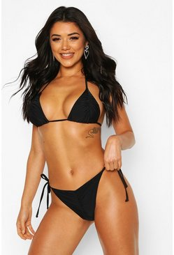 Black Brazilian Ruched Triangle Bikini