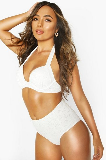 White Mix & Match Broderie Push Up Underwire Top