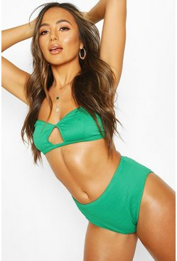 Green Mix & Match Crinkle Cut Out Bandeau Top