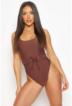 Chocolate Plaited Waist Belt Scoop Swimsuit