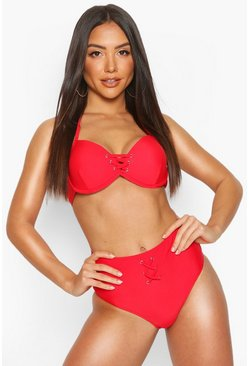 Red Mix & Match Lace Up High Waist Brief