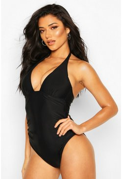 Black Moulded Halterneck Control Swimsuit