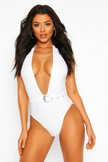 White Plunge Halterneck Belted Swimsuit