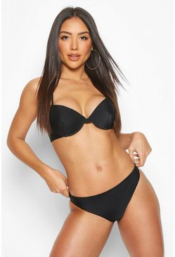 Black Lace Back Detail Push Up Underwired Bikini