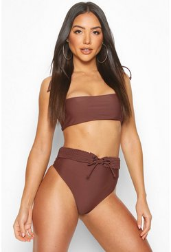 Chocolate Plaited High Waist Belt Bandeau Bikini