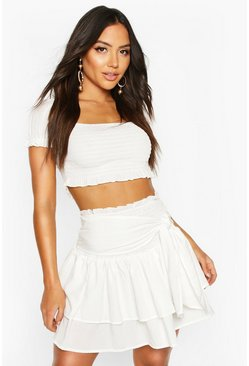 White Puff Sleeve Shirred Beach Co-ord