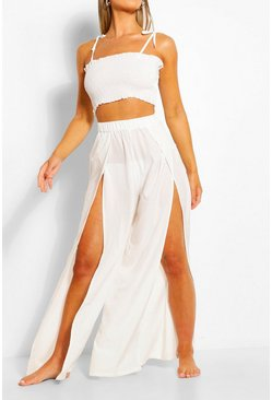 White Shirred Crop Top & Split Trouser Co-ord
