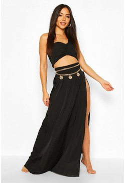 Black Asymetric Split Leg Beach Co-ord