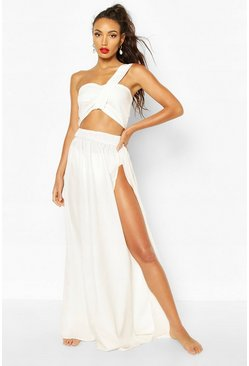 White Asymetric Split Leg Beach Co-ord