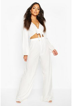 White Wide Leg Beach Trousers