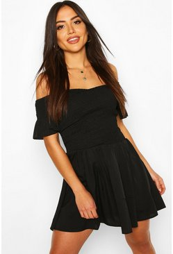 Black Shirred Bardot Mini Beach Dress