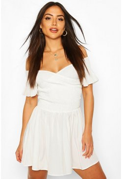 White Shirred Bardot Mini Beach Dress