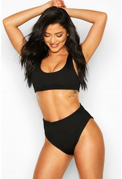 Black Mix & Match Crinkle Crop Bikini Top