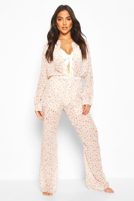 Купить со скидкой Комплект: рубашка с принтом в виде морских раковин и брюки
