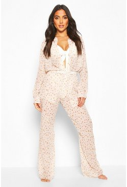 Womens Pink Seashell Shirt & Trouser Co-ord