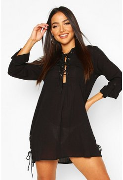 Black Lace Up Cotton Beach Shirt