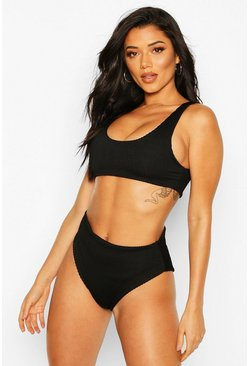 Black Mix & Match Crinkle High Waisted Bikini Brief