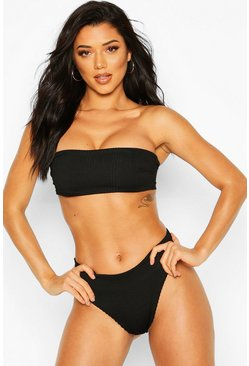 Black Mix & Match Crinkle Bandeau Bikini Top