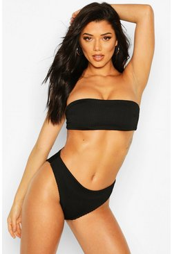 Black Mix & Match Crinkle High Leg Bikini Brief