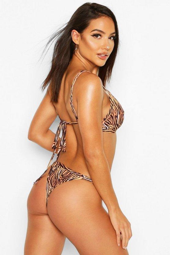 Tiger Print Triangle Bikini