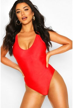 Red Plunge Swimsuit