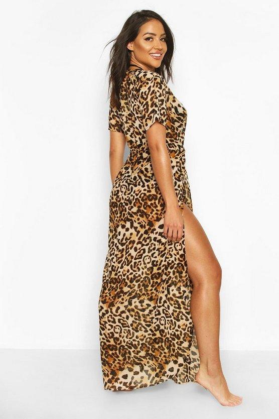 Leopard Print Maxi Beach Kaftan