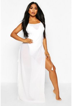 White Lace Up Split Side Maxi Beach Dress