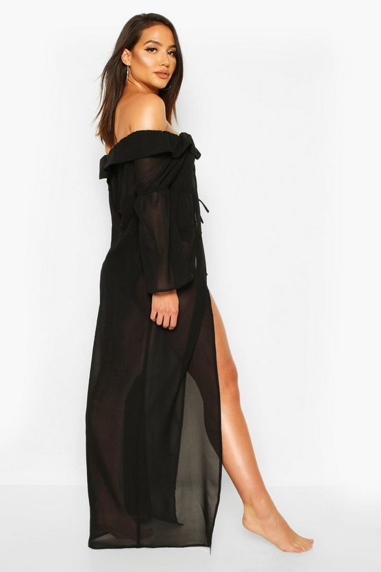 Lace Up Open Front Maxi Beach Kaftan
