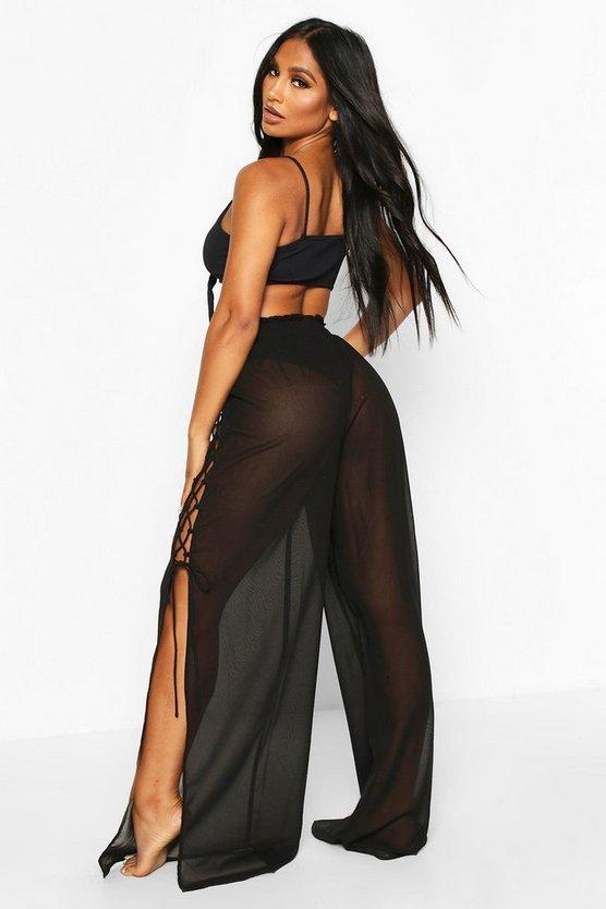 Lace Up Split Side Beach Trousers