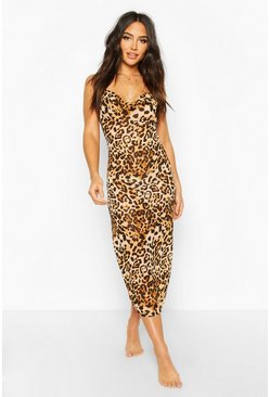 Womens Brown Leopard Print Cowl Neck Maxi Beach Dress