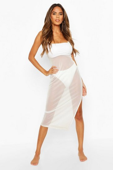 Womens White Split Leg Mesh Beach Dress