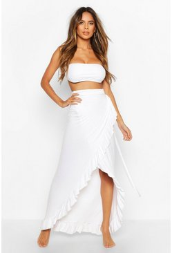 Womens White Jersey Tie Side Beach Sarong