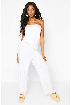 White Jersey Bandeau Beach Jumpsuit
