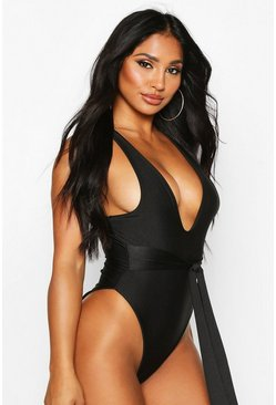 Womens Black Tie Waist High Leg Swimsuit